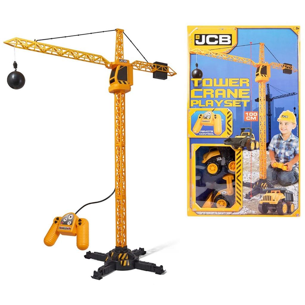 JCB 1416420 Строительный кран 100 см на Д/У + 2 машинки 18 см с аксессуарами