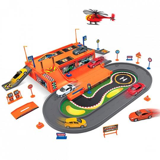 Купить Welly 96030 Велли Игровой набор Гараж, включает 3 машины и вертолет